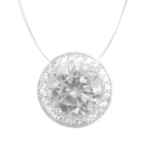 Michael Valitutti 10k White Gold Cubic Zirconia Circle Halo Necklace
