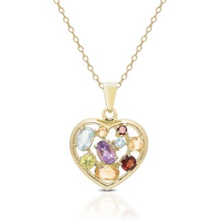 Dolce Giavonna Gold Over Sterling Silver Gemstone Heart Necklace