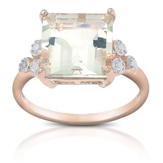 Dolce Giavonna Gold over Sterling Silver Gemstone Diamond Accent Cocktail Ring