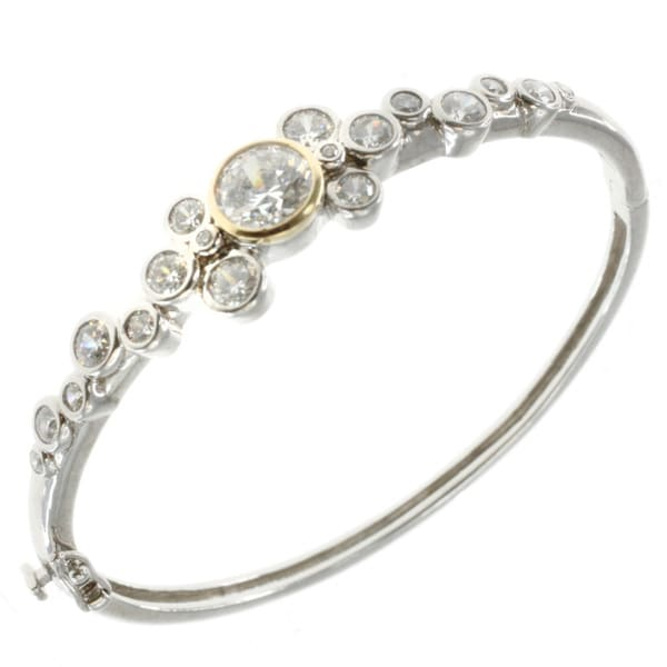 Michael Valitutti Sterling Silver Cubic Zirconia Bangle