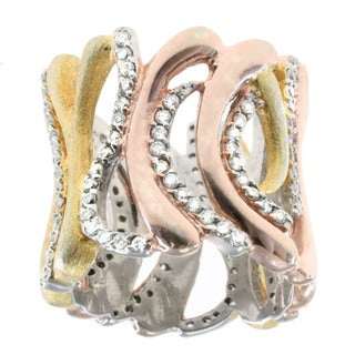 Michael Valitutti Two-tone Gold over Silver Cubic Zirconia Wave Ring