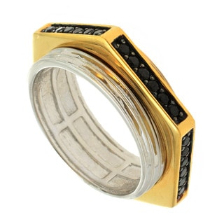 Michael Valitutti Palladium Silver Men's Black Spinel Twist Srew Ring