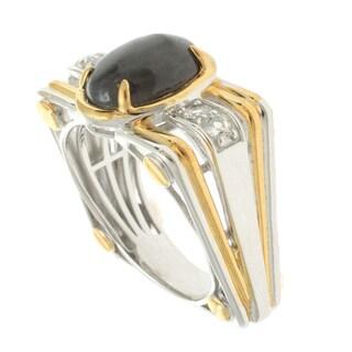 Michael Valitutti Palladium Silver Men's Grey and White Sapphire Ring