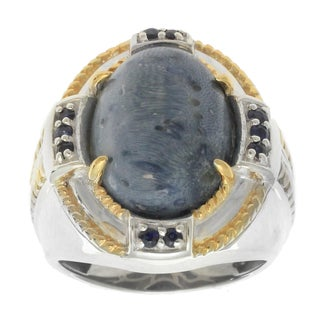 Michael Valitutti Palladium Men's Silver Blue Bamboo Coral and Blue Sapphire Ring