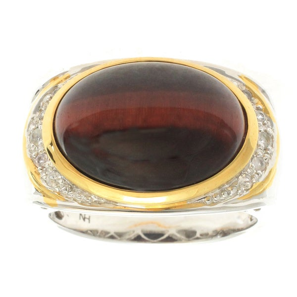 Michael Valitutti Gold over Silver Tiger's Eye White Sapphire Ring