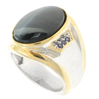 Michael Valitutti Palladium Silver Men's Onyx Blue Sapphire Ring
