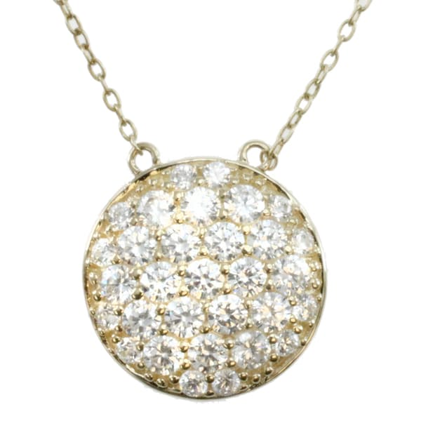 Michael Valitutti 14k Yellow Gold Cubic Zirconia Pave Circle Necklace