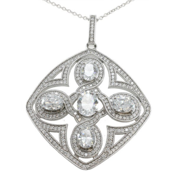 Michael Valitutti Palladium Silver Cubic Zirconia Art Deco Necklace