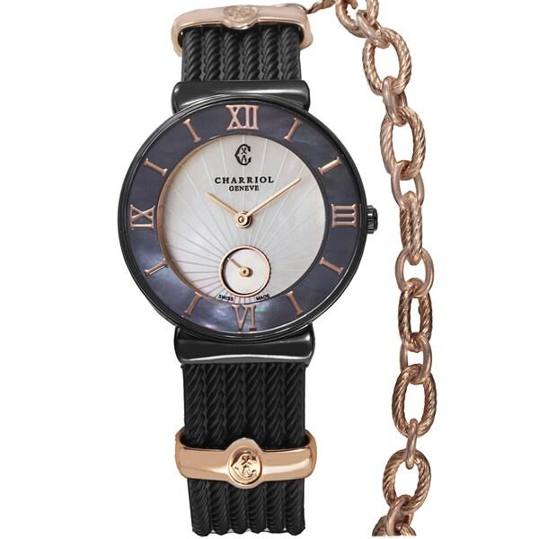 Charriol Women's ST30BI.173.010 'St Tropez' Two Tone Mother of Pearl Dial Black Rubber Strap Watch