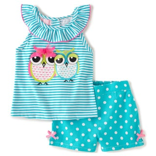 KHQ Infant Girl 2-piece Owls Blue Twill Short Set