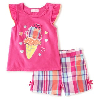 KHQ Infant Girl 2-piece Ice Cream Red Plaid Short Set