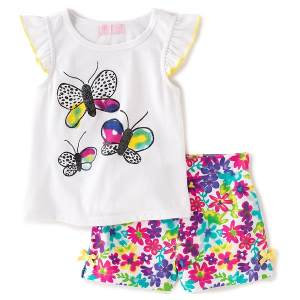 KHQ Toddler Girl Butterfly 2-piece White Knit/Plaid Twill Short Set