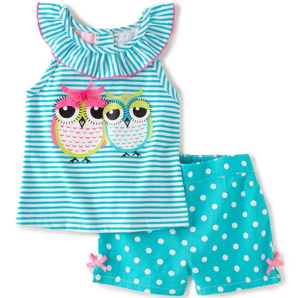 KHQ Toddler Girl 2-piece Owl Blue Twill Short Set