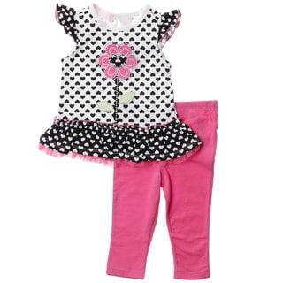 KHQ Infant Girl 2-piece White Knit Capri Set