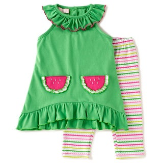 KHQ Infant Girl 2-piece Green Knit Capri Set
