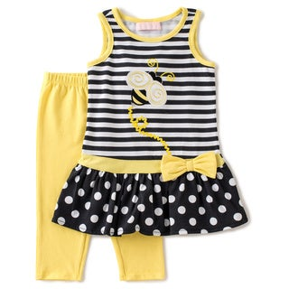 KHQ Infant Girl 2-piece Bumblebee Black Knit Capri Set