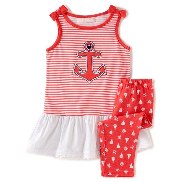KHQ Toddler Girl 2-piece Sailing Red Knit Capri Set