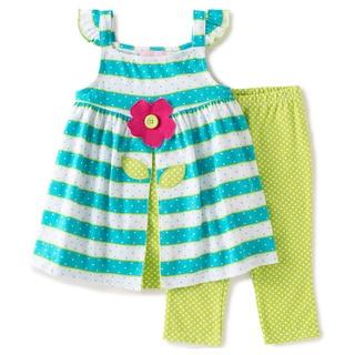 KHQ 4-6X Girl 2-piece Flower Blue Stripe Green Knit Capri Set