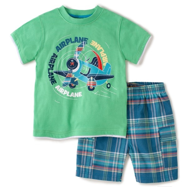 KHQ Toddler Boys Green Graphic Tee and Short Set