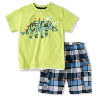 KHQ Toddler Boys Green Dino Graphic Tee and Short Set