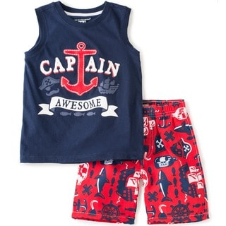 KHQ Toddler Boys 'Captain Awesome' Graphic Tee and Shorts Set