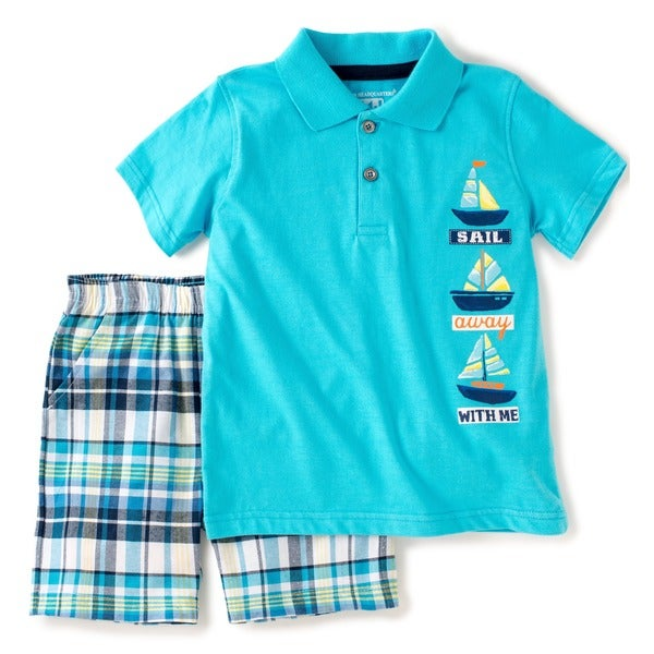 KHQ Boys Size 4-7X 2-piece Blue Polo Shirt and Shorts