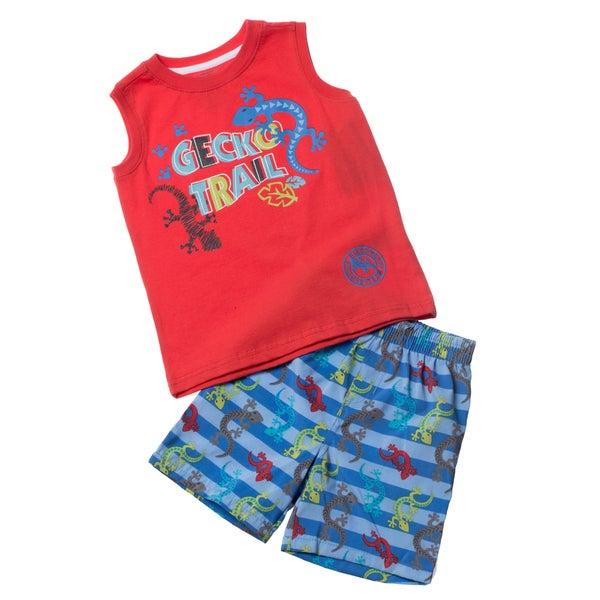 KHQ Toddler Boy 2-piece Red Muscle Swim Set