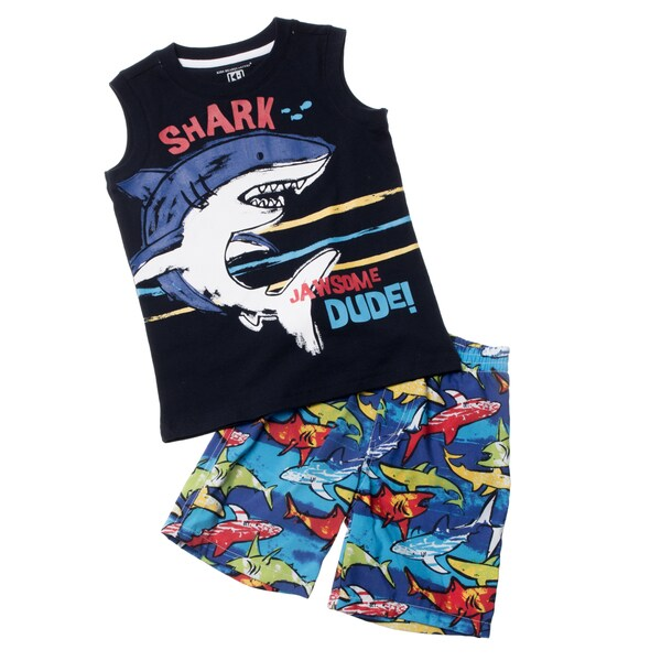 KHQ Toddler Boy 2-piece Black Muscle Swim Set