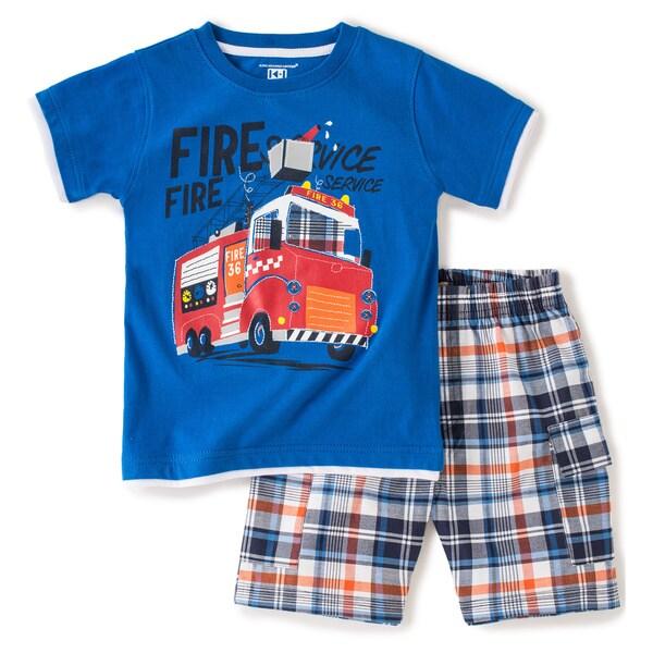 KHQ Toddler Boys Blue Firetruck Tee and Short Set