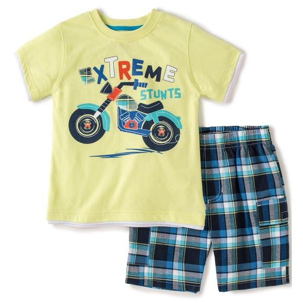 KHQ Toddler Boys Yellow Motorcycle Tee and Board Short Set
