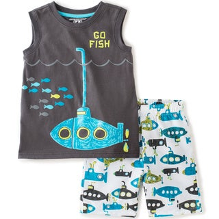 KHQ Toddler Boys 'Go Fish' Black Graphic Tank and Short Set