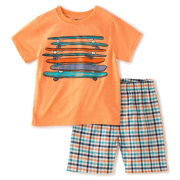 KHQ Toddler Boys Orange Long Board Graphic Tee and Short Set
