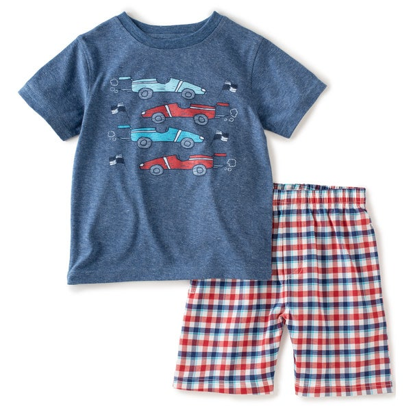 KHQ Toddler Boys Blue/ Red Race Car Graphic Tee and Short Set