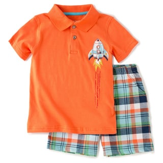 KHQ Boys Size 4-7X 2-piece Orange Polo Shirt and Shorts
