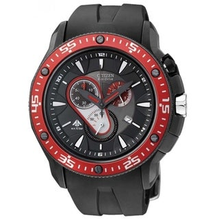 Citizen Men's AT0709-08E 'Eco-Drive' Chronograph Black Silicone Watch