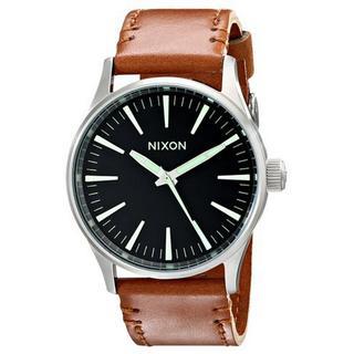 Nixon Men's A3771037-00 Sentry 38 Brown Leather Black Dial Watch