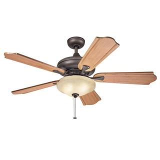 Kichler Lighting Traditional Bronze 52 inch Ceiling Fan with 2-light Kit and Carved Wood Blades