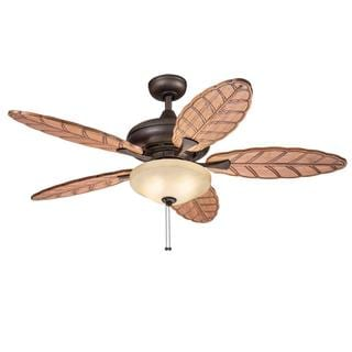 Kichler Lighting Casual Bronze Ceiling Fan with 2-light Kit and Carved Wood Blades
