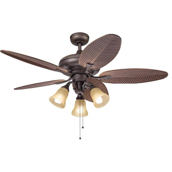Kichler lighting casual bronze 52 inch ceiling fan with 3 light kit free shipping today