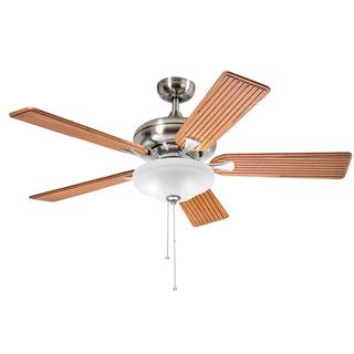 Kichler Lighting Transitional Brushed Nickel 52 inch Ceiling Fan with 2-light Kit and Carved Wood Blades