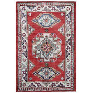 Herat Oriental Afghan Hand-knotted Tribal Super Kazak Red/ Ivory Wool Rug (3'3 x 5')