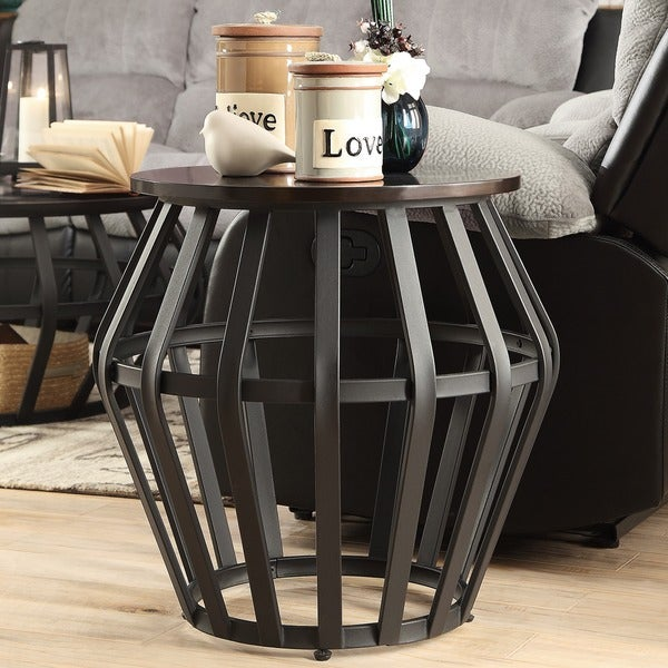 Bentwood Metal Frame Round Cage Slate Accent End Table Overstock
