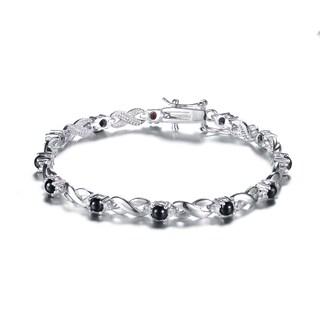 Collette Z Sterling Silver Black and White Cubic Zirconia 'X' Design Bracelet