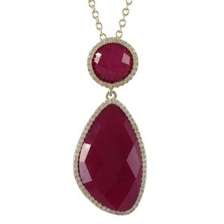 Goldtone Sterling Silver Semi-precious Gemstone Cubic Zirconia Necklace