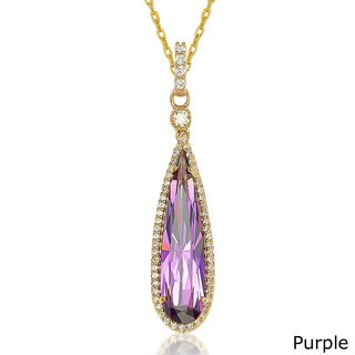 Suzy Levian Goldtone Sterling Silver Elongated Pear-cut Cubic Zirconia Necklace