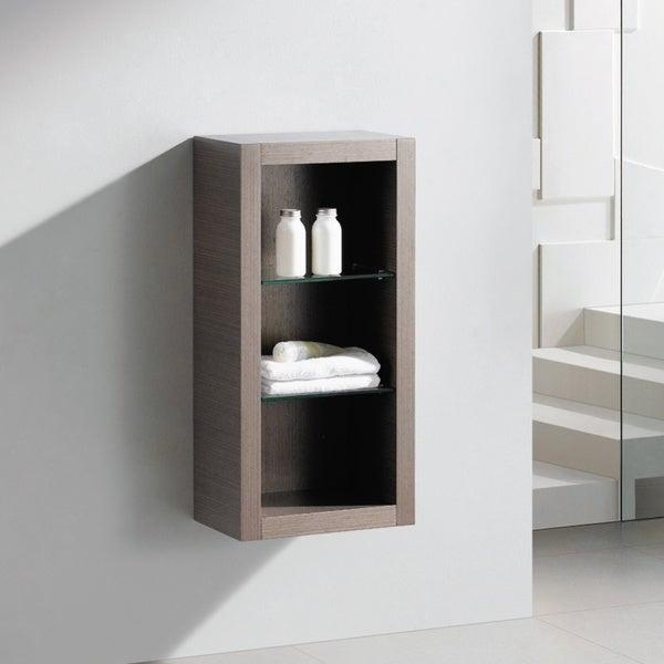 Fresca Grey Oak Bathroom Linen Side Cabinet with Glass Shelves