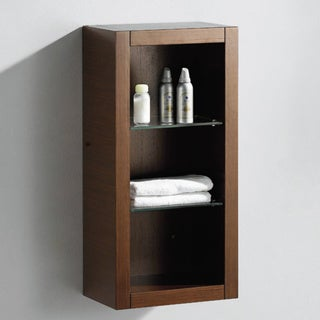 Fresca Wenge Brown Bathroom Linen Side Cabinet with Glass Shelves