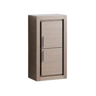 Fresca Grey Oak Bathroom Linen Side Cabinet with 2 Doors