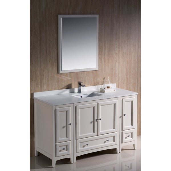 fresca oxford 54 inch antique white traditional bathroom