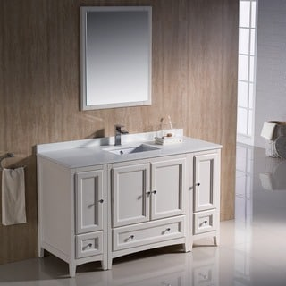 Fresca Oxford 54-inch Antique White Traditional Bathroom Vanity with 2 Side Cabinets